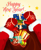 Santa Claus with gift bag. Greeting card. Santa in red gloves holding present box, decorated by ribbon bow, holly berry, bell and star. Happy New Year holidays Royalty Free Stock Images