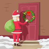 Santa Claus with Gift Bag Knock Christmas New Year Decoration Door Vintage Cartoon Vector Illustration Royalty Free Stock Photos