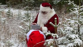 Santa Claus with gift bag in snowy forest stock footage