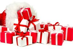Santa Claus gift bag with spilling gifts Stock Photo
