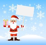 Santa claus with a gift and banner in hands. Illustration Royalty Free Stock Photos