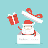 Santa Claus. And gift box vector illustration