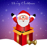 Santa Claus in gift box for Christmas Royalty Free Stock Photography