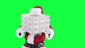 Santa Claus with a gift box chroma key (green screen) stock video footage