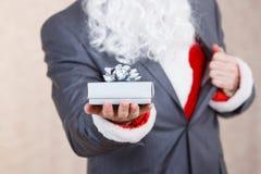Santa Claus with gift box Royalty Free Stock Photo