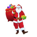 Santa Claus gift box sack full of christmas. Holiday present. Cartoon Vector Illustration isolated over white background Stock Images