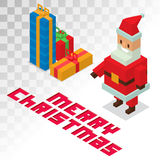 Santa Claus, gift box sometric 3d icons vector Stock Photography