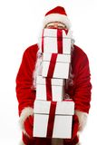 Santa Claus with gift boxes isolated Royalty Free Stock Photography
