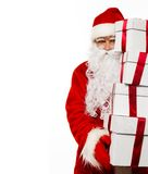 Santa Claus with gift boxes isolated Stock Photo