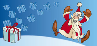 Santa claus with gift card Royalty Free Stock Image