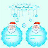 Santa Claus Gift cards. Christmas with vintage frame and Christmas wishes in English winter. Stock Photos