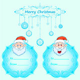Santa Claus Gift cards. Christmas with vintage frame and Christmas wishes in English winter. Royalty Free Stock Photography