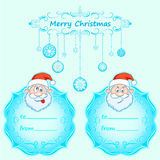 Santa Claus Gift cards. Christmas with vintage frame and Christmas wishes in English winter. Royalty Free Stock Images