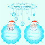 Santa Claus Gift cards. Christmas with vintage frame and Christmas wishes in English winter. Stock Image