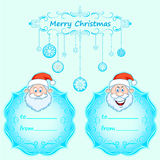 Santa Claus Gift cards. Christmas with vintage frame and Christmas wishes in English winter. Royalty Free Stock Photos