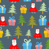 Santa Claus, gift and Christmas tree. Christmas seamless pattern. Vector background of symbols of new year Stock Photo