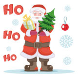Santa Claus with gift and Christmas tree Stock Photography