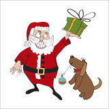 Santa Claus with gift. Comic illustration  in  format Royalty Free Stock Photography