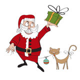 Santa Claus with gift Royalty Free Stock Photos