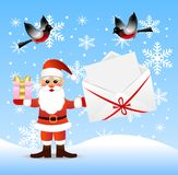 Santa claus with a gift and envelope with congratu. Lation in hands, illustration Stock Photos