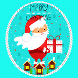 Santa Claus with a gift in hand. Holiday card. Merry Christmas. Vector, flat design Stock Photography