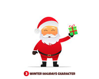 Santa Claus with gift. Merry Christmas and Happy New Year. Santa Claus holding gift in hand. Holiday vector illustration Stock Images