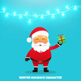 Santa Claus with gift. Merry Christmas and Happy New Year. Santa Claus holding gift in his hand. Holiday vector illustration with garland Stock Photography