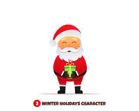 Santa Claus with gift. Merry Christmas and Happy New Year. Santa Claus holding gift in his hands. Holiday vector illustration Stock Image
