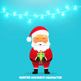 Santa Claus with gift. Merry Christmas and Happy New Year. Santa Claus holding gift in his hands. Holiday vector illustration with garland Stock Photography