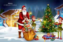Santa Claus with gift for Merry Christmas holiday celebration stock photography