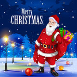 Santa Claus with gift for Merry Christmas holiday. Easy to edit vector illustration of Santa Claus with gift for Merry Christmas holiday celebration Royalty Free Stock Image