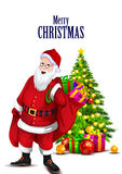 Santa Claus with gift for Merry Christmas holiday. Easy to edit vector illustration of Santa Claus with gift for Merry Christmas holiday celebration Stock Photos