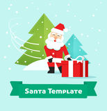 Santa Claus with gift, Merry Christmas, New Year present delivery Stock Photo