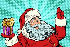 Santa Claus with gift. New year and Christmas Royalty Free Stock Photos