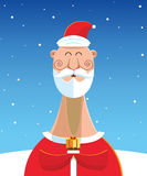 Santa Claus with gift over snow landscape background.  Royalty Free Stock Images