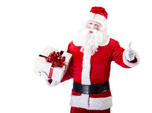 Santa Claus with gift posing on white isolated. Santa Claus with gift posing on white background Royalty Free Stock Photo
