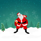 Santa Claus with gift sack and bell for Christmas celebration. Royalty Free Stock Photos