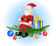 Santa Claus. With a gift sitting on a fir-tree branch stock illustration