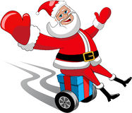 Santa Claus Gift Xmas Isolated Wheels Travelling royalty free stock photos