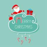 Santa Claus, giftbox, copo de nieve, bola Tarjeta de la Feliz Navidad bastón de caramelo colgante Línea de la rociada con el arco Foto de archivo