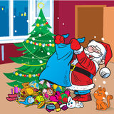 Santa Claus with gifts. The illustration depicts Santa Claus, who brought the bag with gifts under the Christmas tree Stock Image