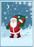 Santa Claus with gifts. Vector illustration depicting Santa Claus carrying a sack of gifts Royalty Free Stock Photo