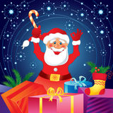 Santa Claus with gifts. Christmas card with Santa Claus and gifts Stock Photos