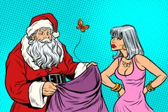 Santa Claus without gifts and angry woman. New year and Christmas. Pop art retro vector illustration Stock Photo
