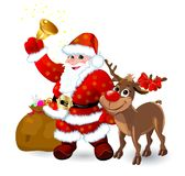 Santa with bell and reindeer vector illustration