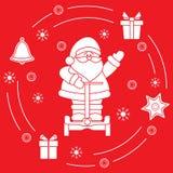 Santa Claus, gifts, bell, gingerbread. Star, snowflakes. New Year and Christmas symbols Royalty Free Illustration