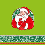 Santa Claus with gifts and border pattern. Santa Claus with gifts in a sack and frosty pattern and seamless canvas Royalty Free Stock Photo