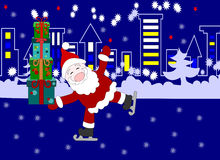 Santa Claus with gifts in the boxes skates near the town Stock Photography