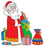 Santa Claus with Gifts Cartoon Royalty Free Stock Image