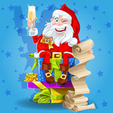 Santa Claus with gifts and champagne Royalty Free Stock Photo